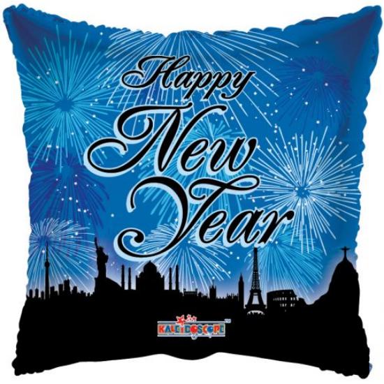 45 cm-es Happy New Year tűzijátékos fólia lufi ·