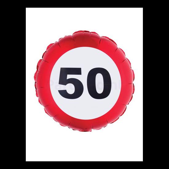 46 cm-es behajtani tilos 50. születésnapra fólia lufi