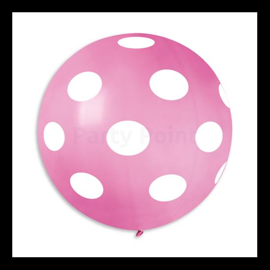 80 cm-es fehér pöttyös rózsaszín gumi lufi