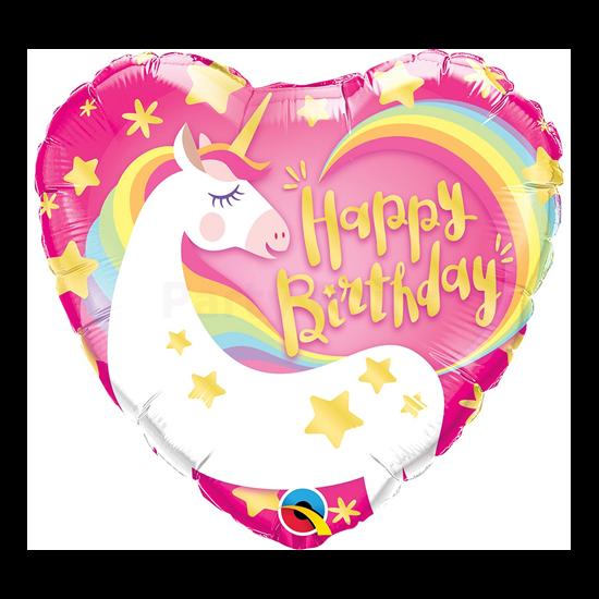 40 cm-es Unikornis Happy Birthday bubble lufi