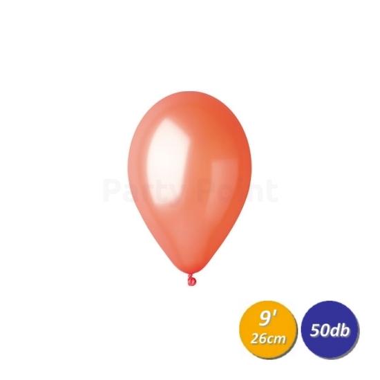 26 cm-es metál narancssárga gumi léggömb 50 db/cs