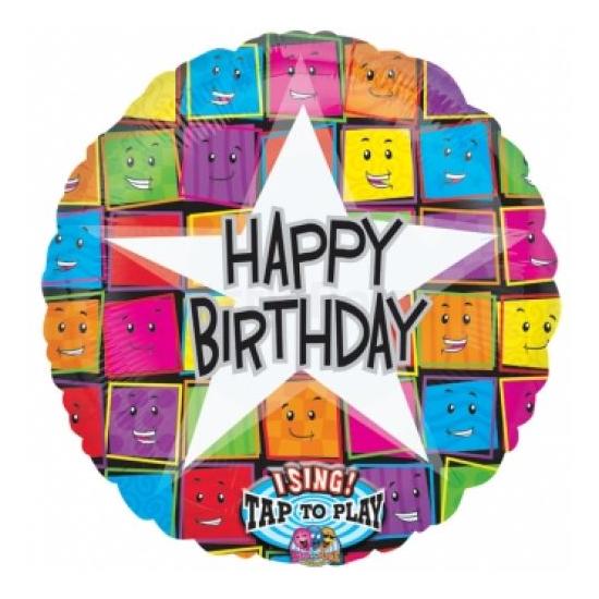 Sing-a-Tune-Zenélő Happy Birthday mosolygós arcok fólia lufi