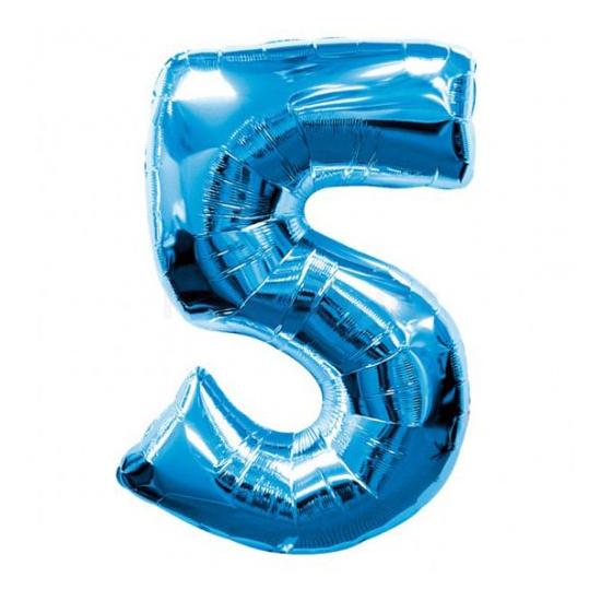 SuperShape - kék 5-ös szám fólia lufi