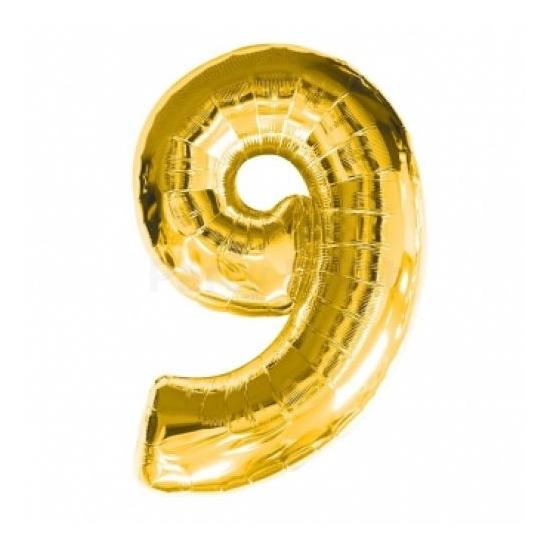 SuperShape - arany színű 9-es szám fólia lufi
