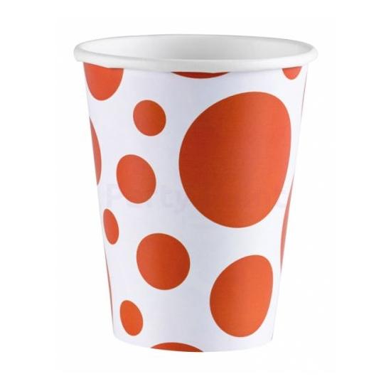 Narancssárga pöttyös pohár 266 ml 8 db/cs