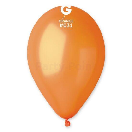 33 cm-es metál narancssárga gumi léggömb 100 db/cs.
