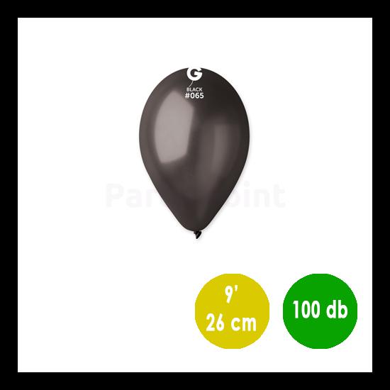 26 cm-es metál fekete gumi léggömb 100 db/cs.