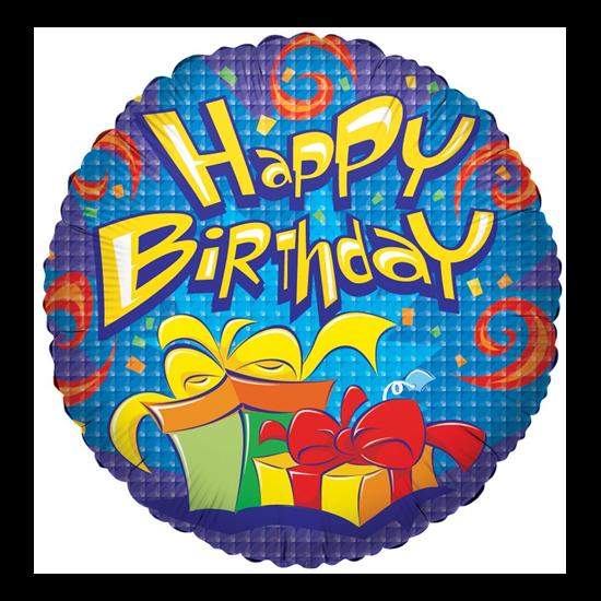 45 cm-es Happy Birthday ajándékcsomagos fólia lufi