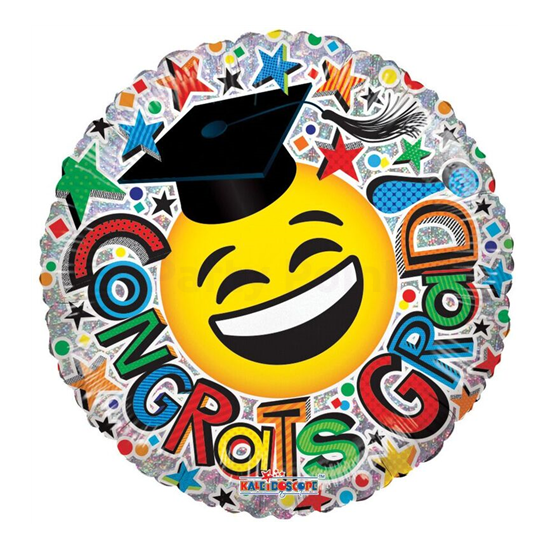 45 cm-es Congrats Grad Smiley fólia lufi
