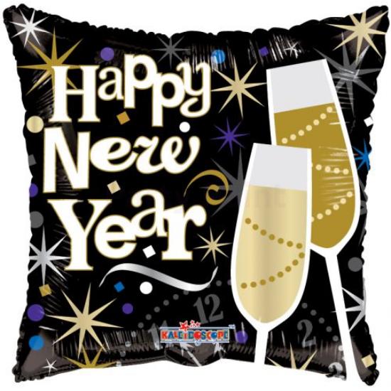 45 cm-es Happy New Year poharas fólia lufi