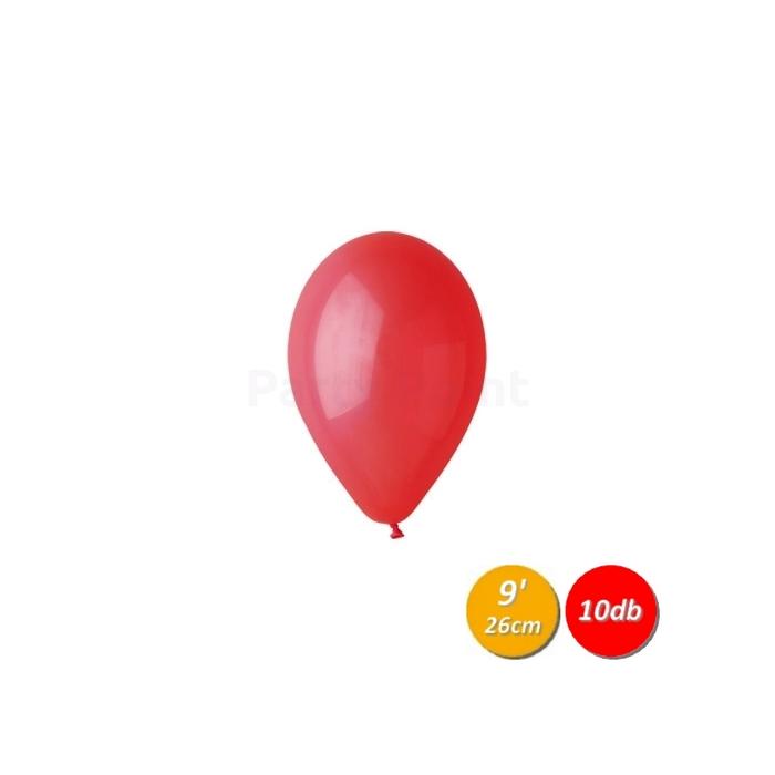 26 cm-es piros gumi léggömb - 10 db / csomag