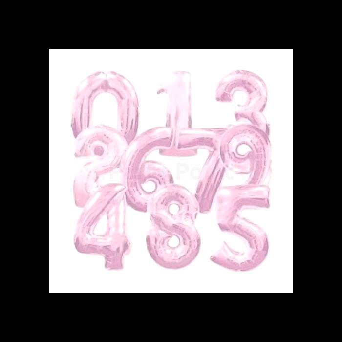 36 cm-es világos pink 5-ös szám fólia lufi
