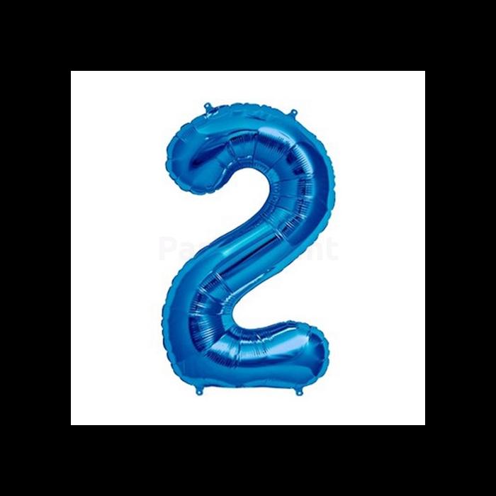 MiniShape - kék 2-es szám fólia lufi