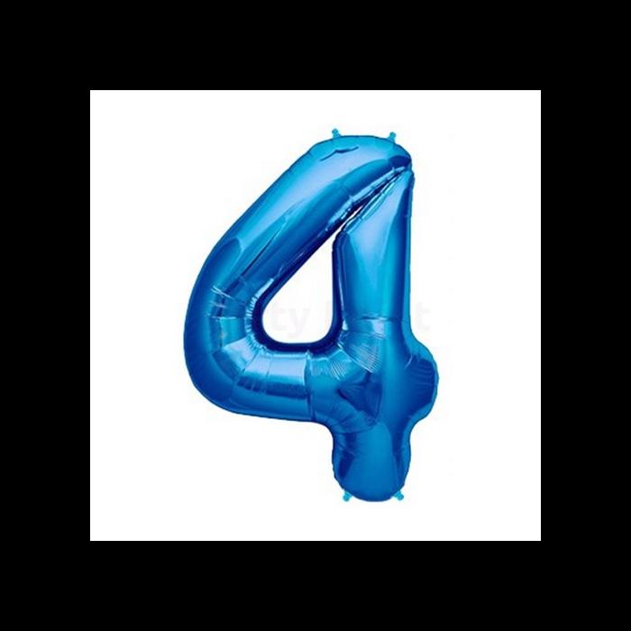 36 cm-es kék 4-es szám fólia lufi