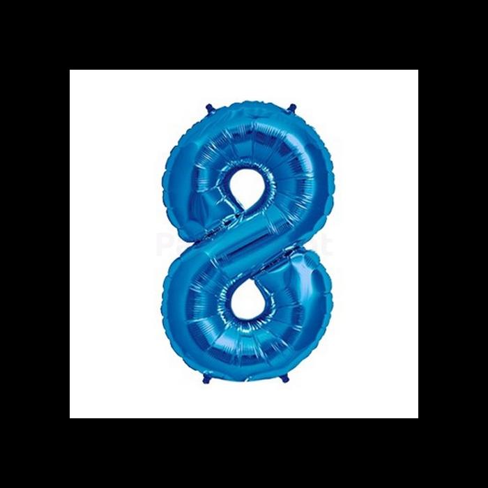 36 cm-es kék színű 8-as szám fólia lufi
