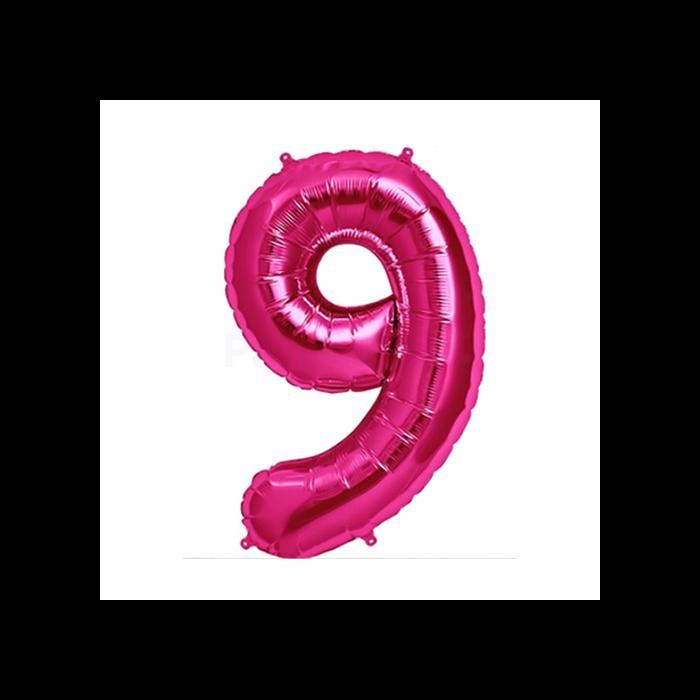 36 cm-es metál pink 9-es szám fólia lufi