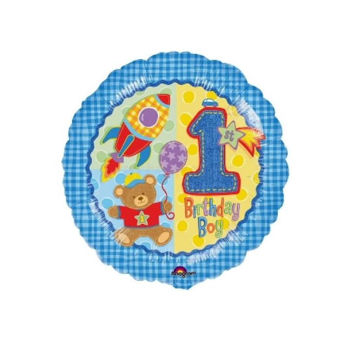 45 cm-es 1st Birthday Boy  fólia lufi