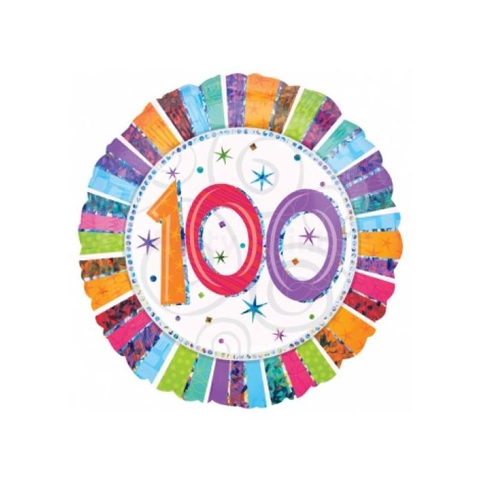 45 cm-es Radinat Happy Birthday 100. születésnapra fólia lufi