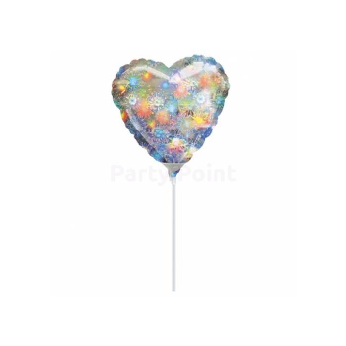 23 cm -es tűzijáték, hologrammas, szív alakú fólia lufi