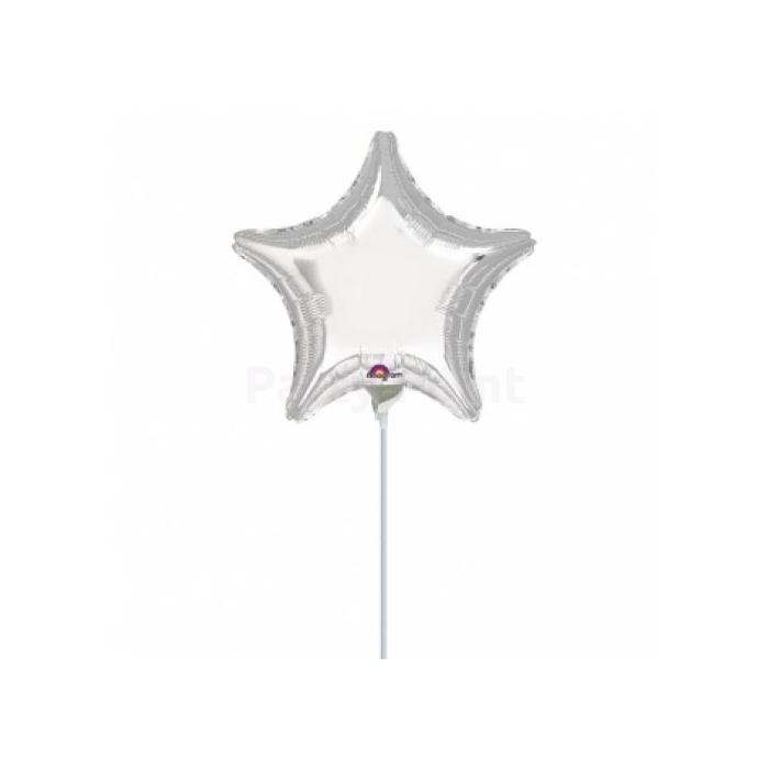 23 cm -es ezüst, csillag alakú fólia lufi