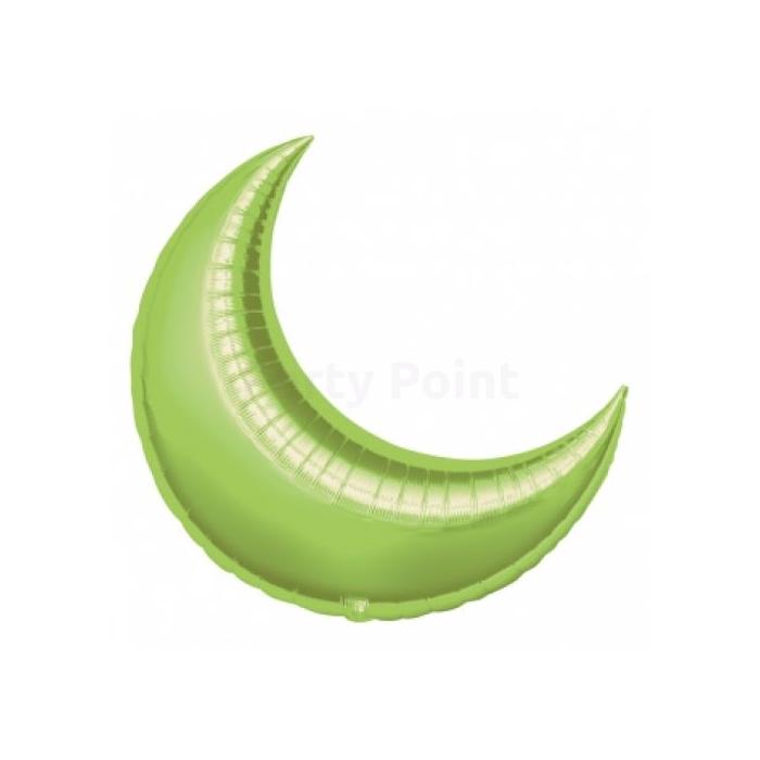 43 cm-es hold alakú, limezöld fólia lufi