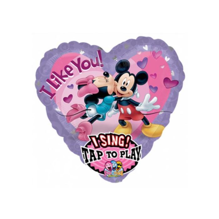 Sing-a-Tune-Zenélő I like you Mickey & Minnie fólia lufi