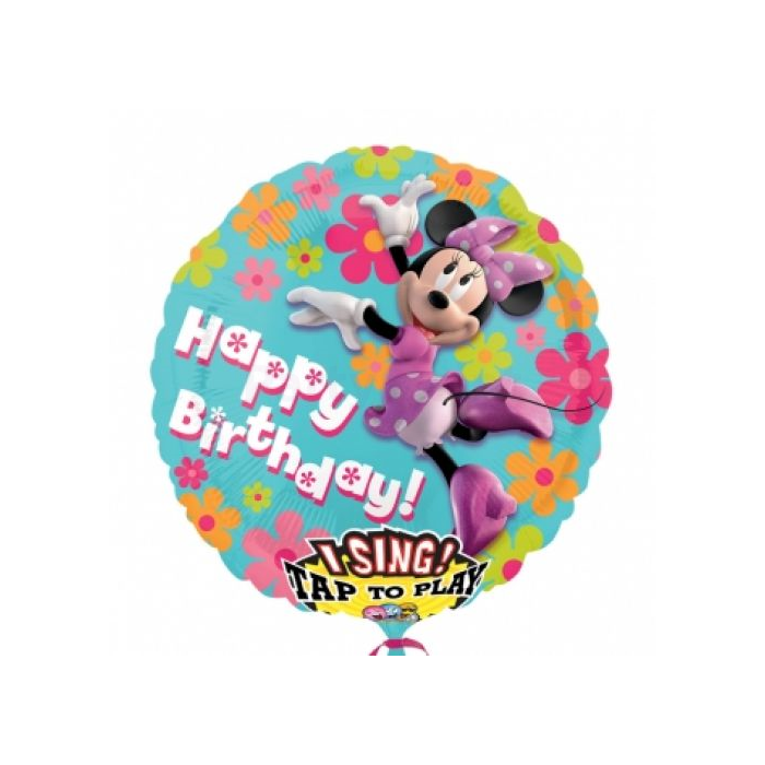 Sing-a-Tune-Zenélő Happy Birthday Minnie fólia lufi