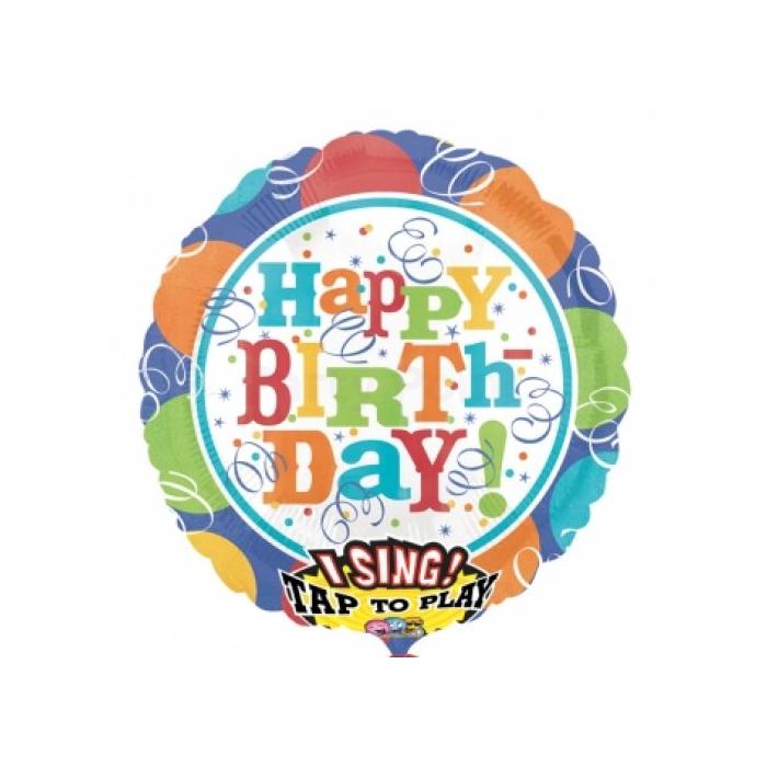 Sing-a-Tune-Zenélő Happy Birthday szerpentines fólia lufi