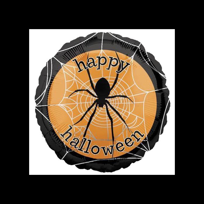 Halloween - 45 cm-es Happy Halloween pókkal fólia lufi