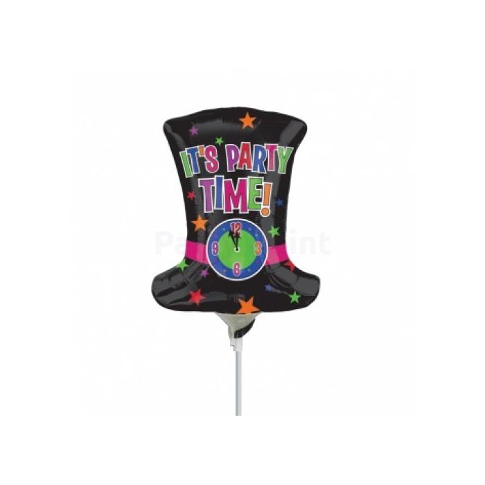 Mini -It's party time fekete kalap órával fólia lufi