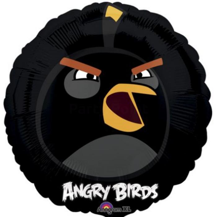 45 cm-es Angry Birds fekete madár fólia lufi