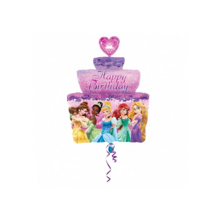 SuperShape - Hercegnő Happy Birthday tortás fólia lufi