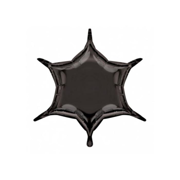50 cm-es fekete, hatszárú csillag alakú fólia lufi