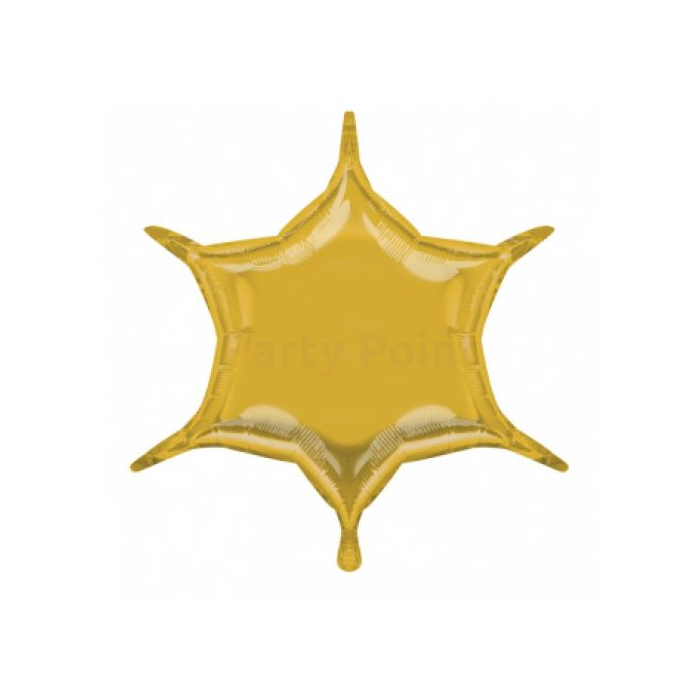 50 cm-es arany színű, hatszárú csillag alakú fólia lufi