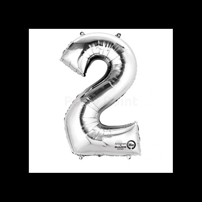 SuperShape - ezüst színű 2-es szám fólia lufi