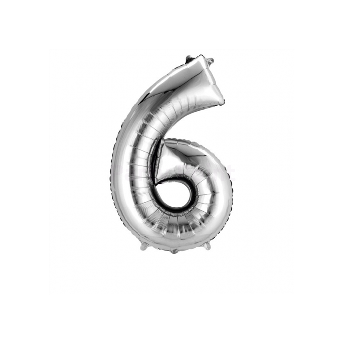 SuperShape - ezüst színű 6-os szám fólia lufi