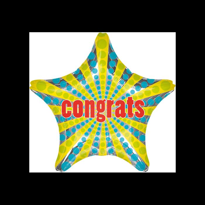 Jumbo -Congrats csillag alakú kék sárga fólia lufi