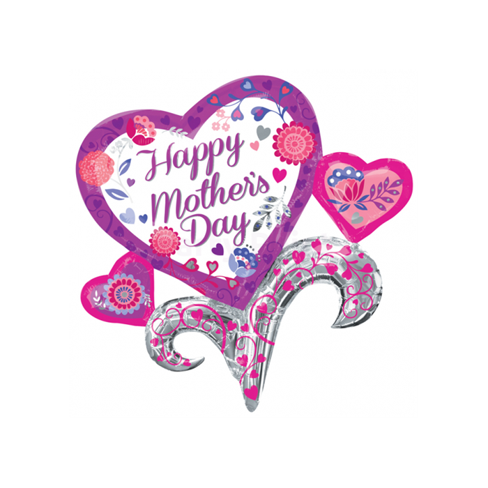 SuperShape - Happy Mother's Day virág szívből fólia lufi