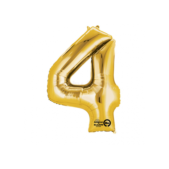 86 cm-es arany színű 4-es szám fólia lufi