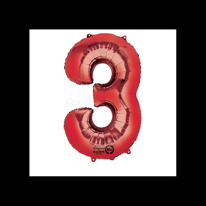 SuperShape - piros 3-as szám fólia lufi