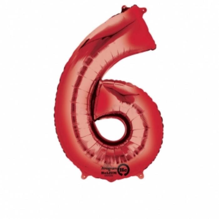 SuperShape - piros 6-os szám fólia lufi