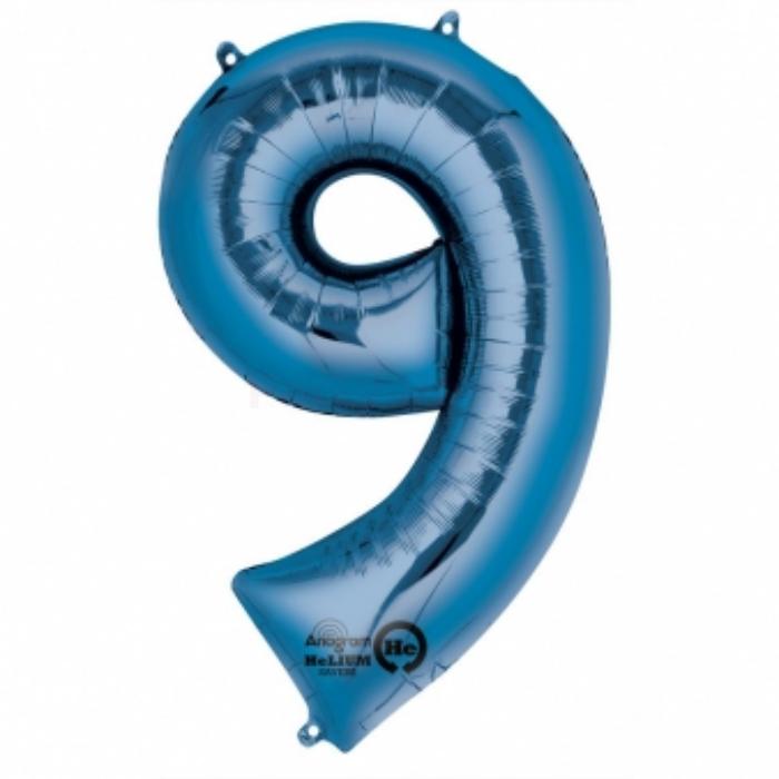 SuperShape - kék 9-es szám fólia lufi