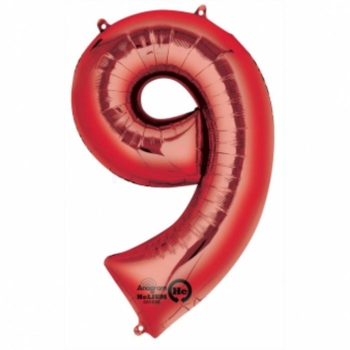 SuperShape - piros 9-es szám fólia lufi