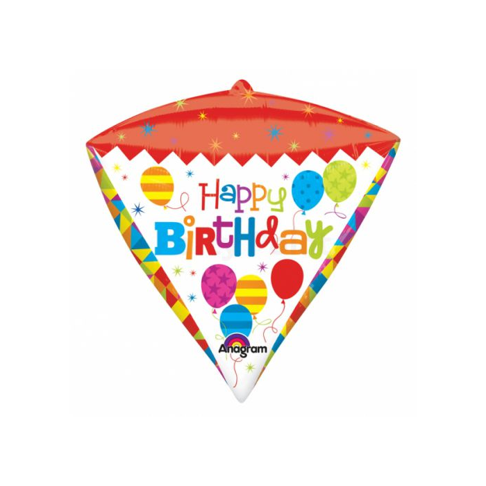 45 cm-es Happy Birthday gyémánt formájú fólia lufi