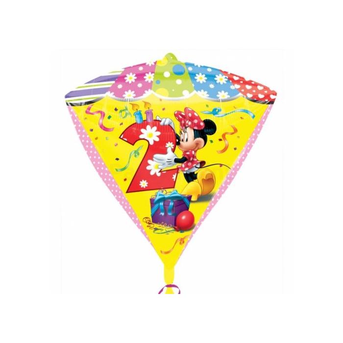 45 cm-es Minnie 2nd Birthday gyémánt alakú fólia lufi