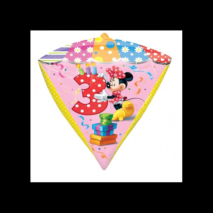 45 cm-es Minnie 3th Birthday gyémánt alakú fólia lufi