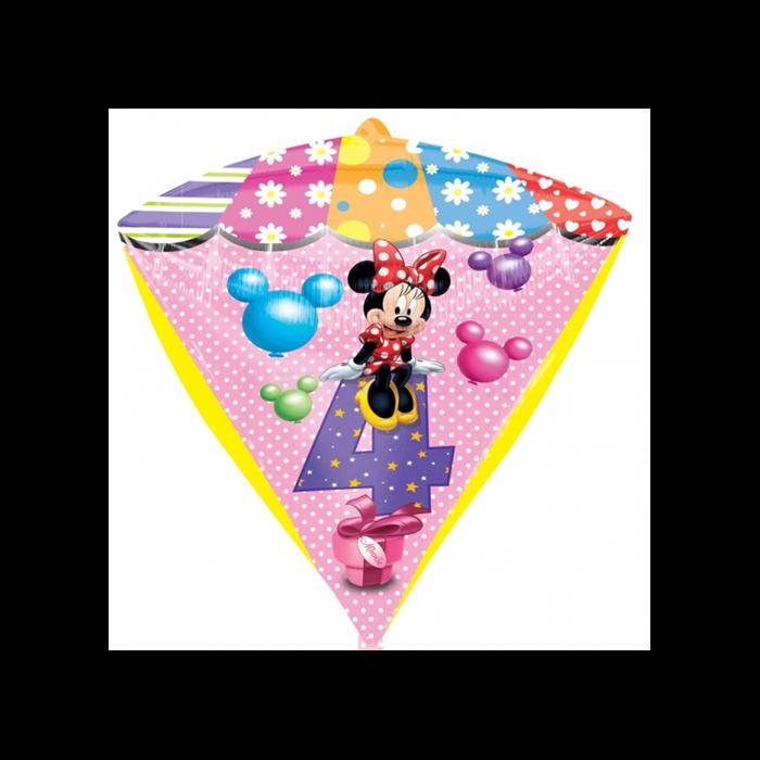 45 cm-es Minnie 4th Birthday gyémánt alakú fólia lufi