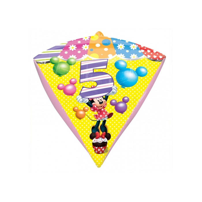 45 cm-es Minnie 5th Birthday gyémánt alakú fólia lufi