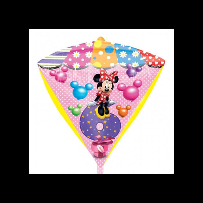 45 cm-es Minnie 6th Birthday gyémánt alakú fólia lufi
