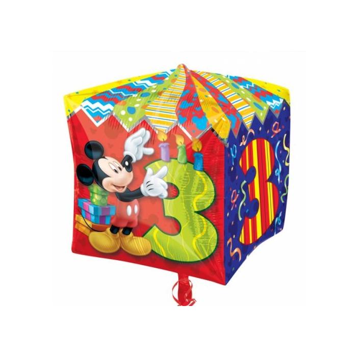 Cubez - Mickey 3rd Birthday fólia lufi, 38 cm